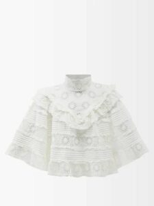 Thorsun - Georgie Hummingbird-print Cotton-poplin Shirt - Womens - Blue Multi