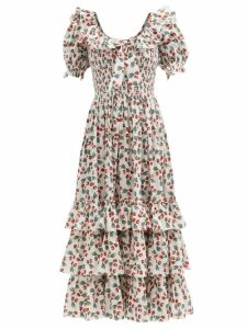 Thorsun - Georgie Hummingbird-print Cotton-poplin Shirt - Womens - Khaki Multi
