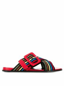 Sonia Rykiel striped crossover sandals - Red