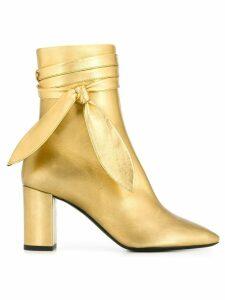 Saint Laurent ankle wrap boots - Gold
