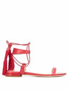 Lanvin tasseled flat sandals - Red