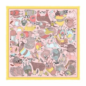 Pig, Chicken & Cow - Cashmere Silk A Wild Sheep Chase Pink Scarf