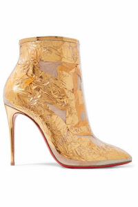 Christian Louboutin - Booty Cap 100 Pvc And Metallic Crinkled-foil Ankle Boots - Gold