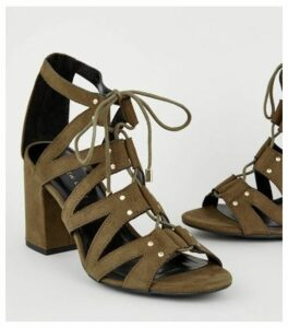 Wide Fit Khaki Lace Up Ghillie Block Heels New Look