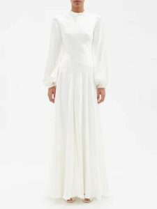 Fendi - Logo Print Silk Crepe De Chine Pyjama Shirt - Womens - Brown Multi
