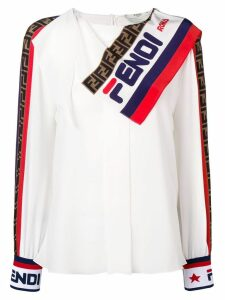 Fendi logo scarf blouse - White
