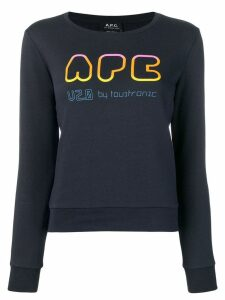 A.P.C. Rainbow logo print sweater - Blue