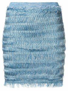 Balmain fringe pencil skirt - Blue