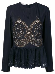 Stella McCartney eyelet peplum blouse - Blue