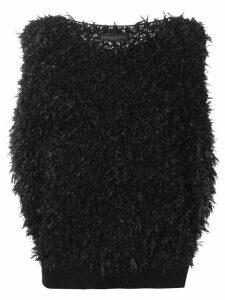 Fabiana Filippi fluffy shortsleeved jumper - Black