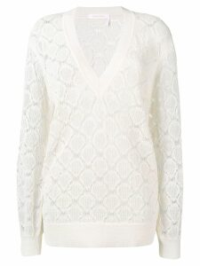 See By Chloé crochet V-neck sweater - White
