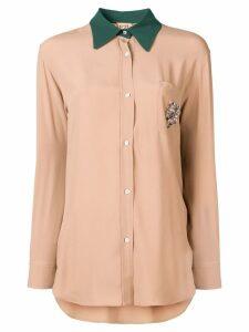 Nº21 contrast collar shirt - Neutrals