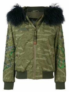 Mr & Mrs Italy fur trimmed hood bomber jacket - Green