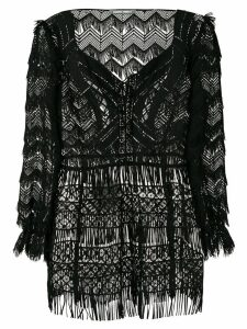 Alberta Ferretti fringed top - Black
