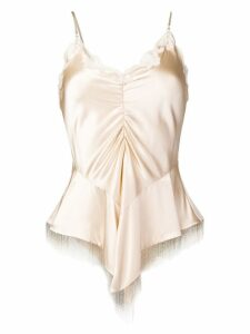 Alexander Wang ruched lace beaded top - NEUTRALS