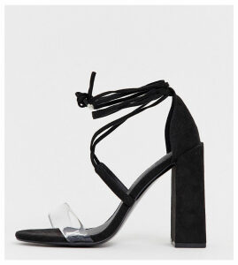 ASOS DESIGN Wide Fit Hadley barely there block heeled sandals-Black