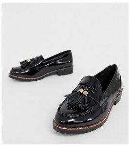 RAID Wide Fit Maya black patent chunky flat loafers
