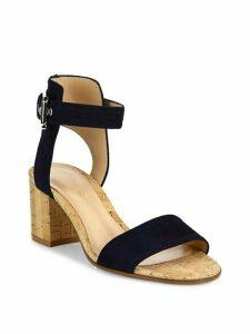 Suede Cork Heel City Sandals