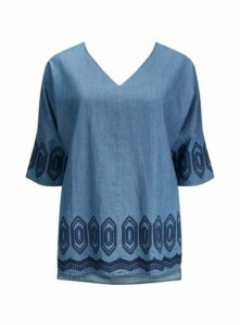 Navy Blue Embroidered Tunic, Blue