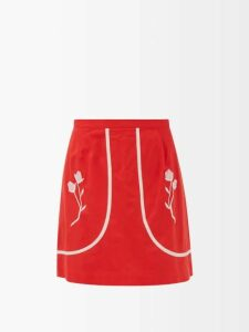 Figue - Nora Bi Colour Geometric Print Cotton Blouse - Womens - Pink Multi