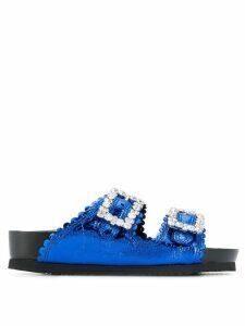 Suecomma Bonnie crystal buckle sandals - Blue