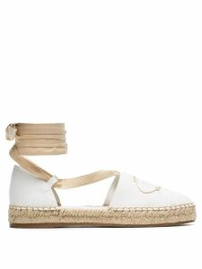 Prada white ankle tie canvas espadrille sandals
