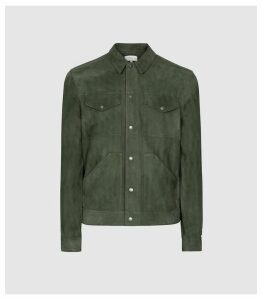 Reiss Sakura - Suede Trucker Overshirt in Green, Mens, Size XXL