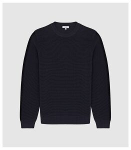 Reiss Iowa - Ribbed Crew Neck Jumper in Navy, Mens, Size XXL