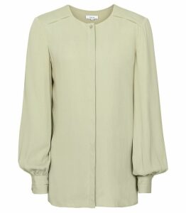 Reiss Noa - Cut Out Detail Blouse in Soft Green, Womens, Size 14