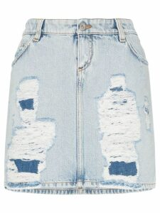 Faith Connexion distressed denim mini skirt - Blue