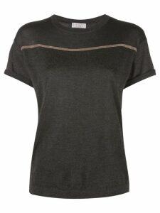 Brunello Cucinelli embroidered stripe T-shirt - Grey