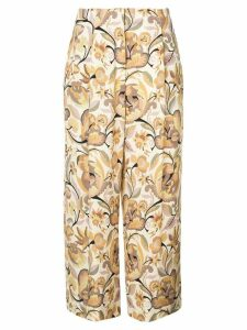 Etro floral print cropped trousers - Neutrals