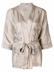 Gold Hawk embroidered kimono blouse - Grey