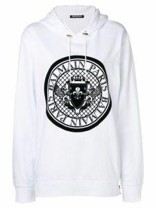 Balmain logo stamp hoodie - White