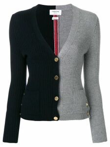Thom Browne Half-and-half Rib Knit V-neck Wool Cardigan - Blue