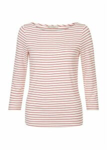 Striped Sonya Top Ivory Red