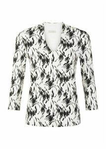 Aimee Printed Top White Black