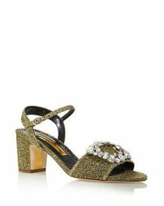 Rupert Sanderson Women's Opal Metallic Block Heel Sandals
