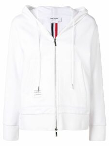 Thom Browne Center-Back Stripe Zip-Up Hoodie - White