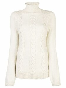 Voz Cable Turtleneck jumper - White
