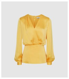 Reiss Miranda - Plunge Wrap Front Blouse in Yellow, Womens, Size 14
