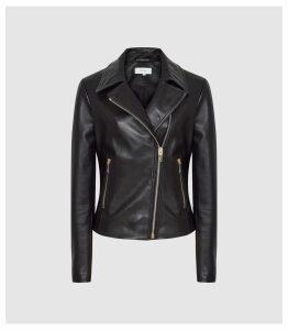 Reiss Blair - Leather Biker Jacket in Black, Womens, Size 14