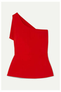 Safiyaa - One-shoulder Asymmetric Draped Stretch-crepe Top - Red