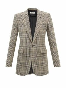 Saint Laurent - High Rise Crushed Velvet Trousers - Womens - Black
