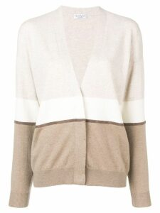Brunello Cucinelli colour-block fitted cardigan - NEUTRALS