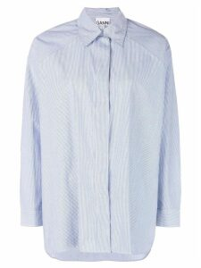 GANNI striped oversized shirt - Blue