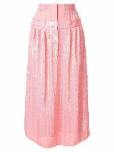 Tibi high-waist sequin silk skirt - PINK