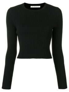 Live The Process cropped open back knit sweater - Black