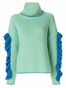 Anna October ruffled sleeve roll neck jumper - Green