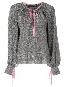 Anna October ribbon tied blouse - Grey